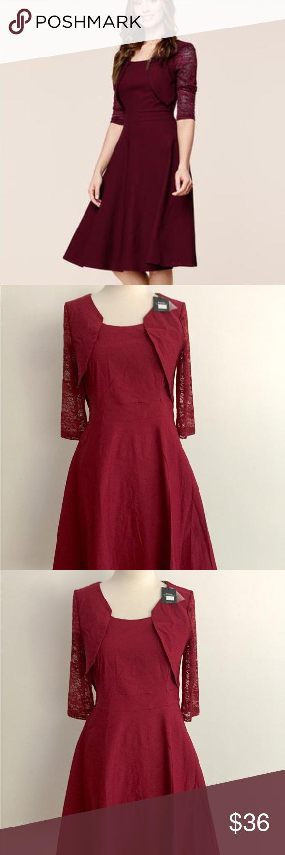 Miusol Empire Waist Red Wine Cocktail Dress L Christmas Cocktail Dresses Dresses Cocktail Dress [ 1740 x 580 Pixel ]