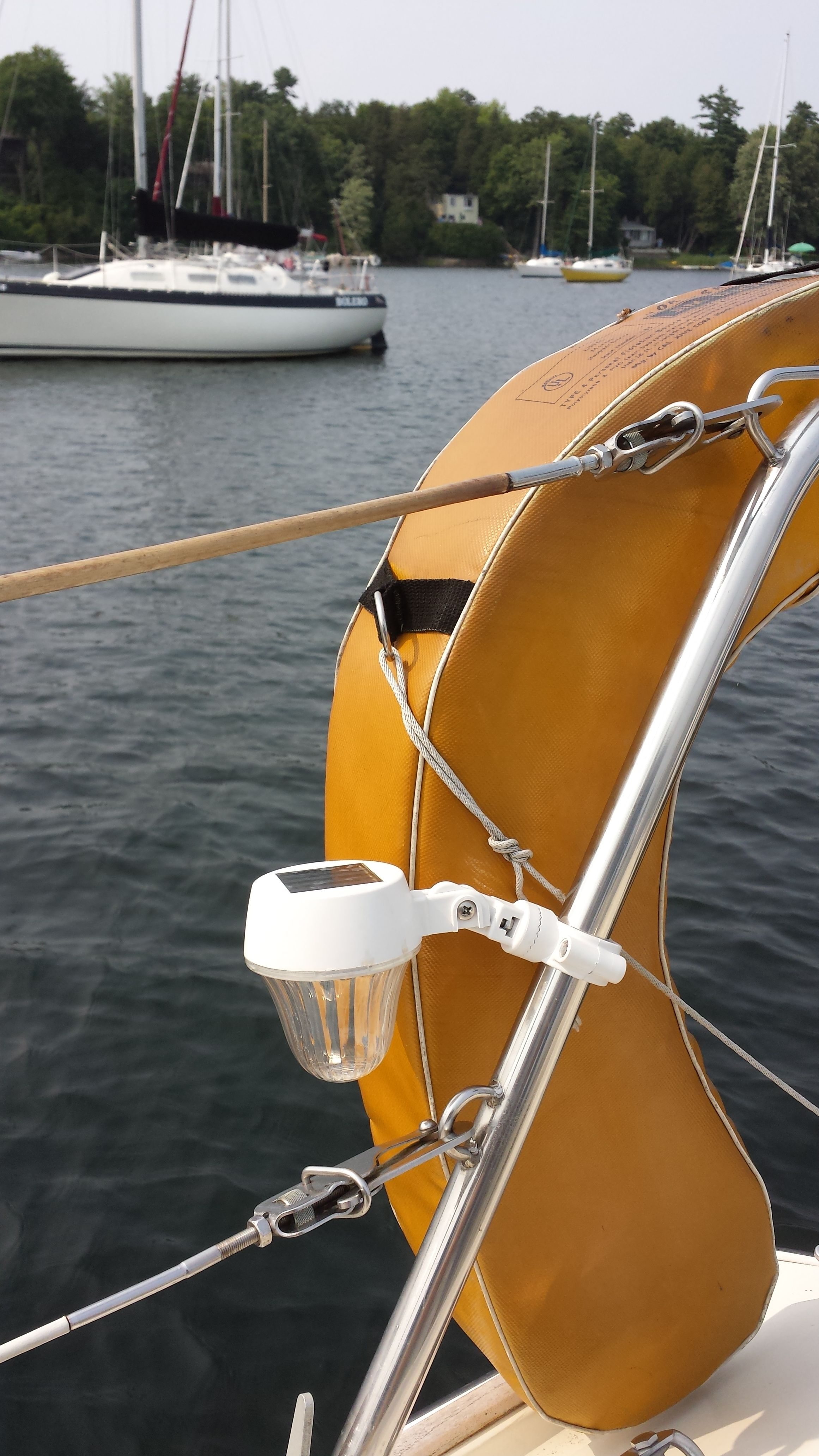 Solar Kandle Rail Light mounted on our Stern Pulpit Rail