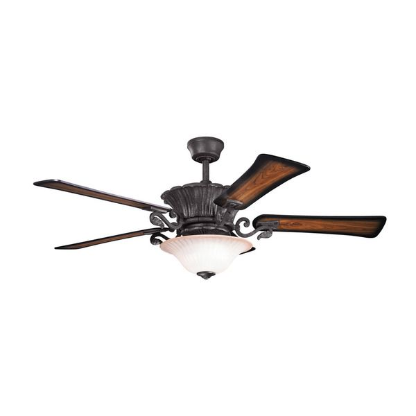 Kichler Lighting Rochelle Collection 52 inch Distressed Black Ceiling Fan w/Light