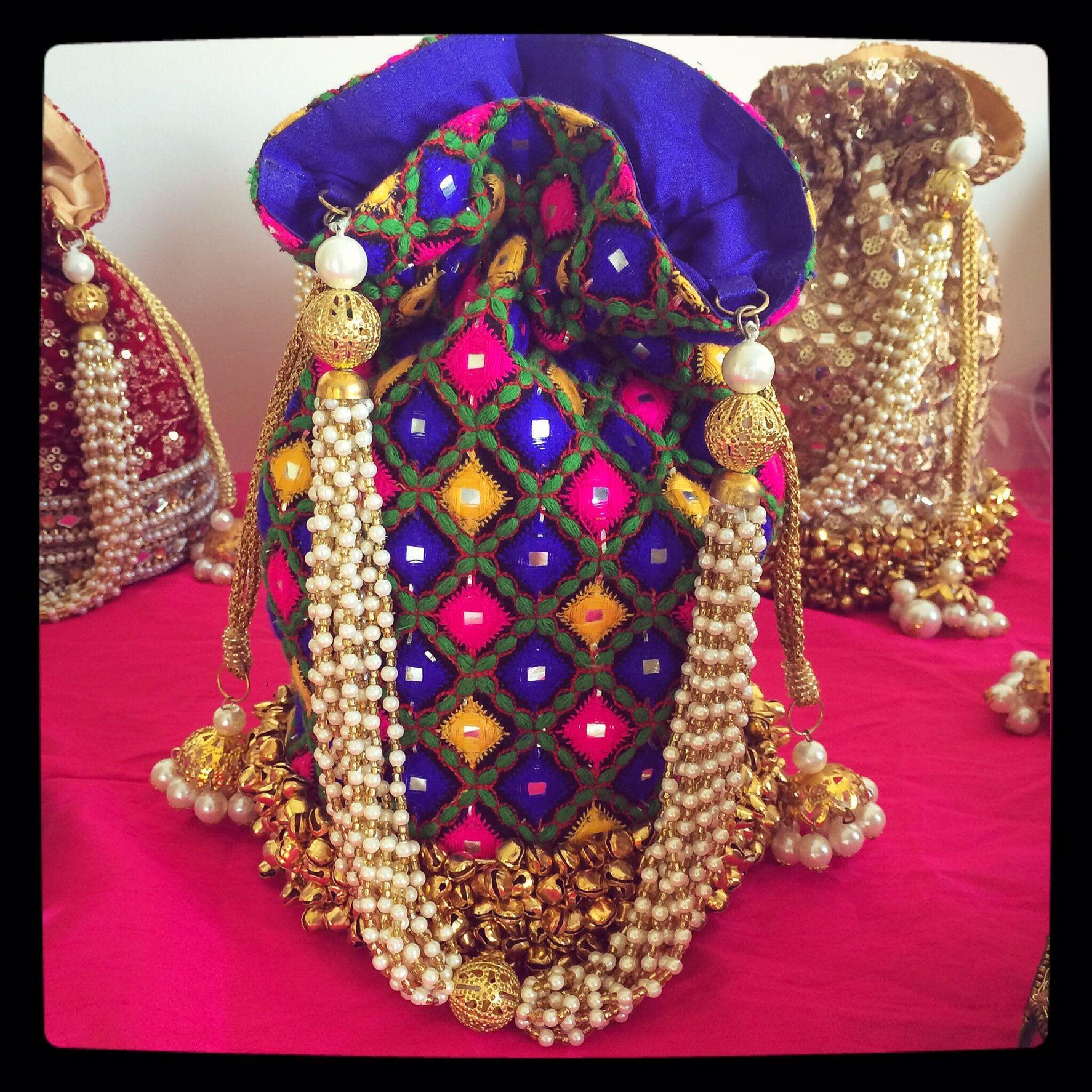 Dazzling Blue Potli Bag Wedding Favors Potli Indian Wedding