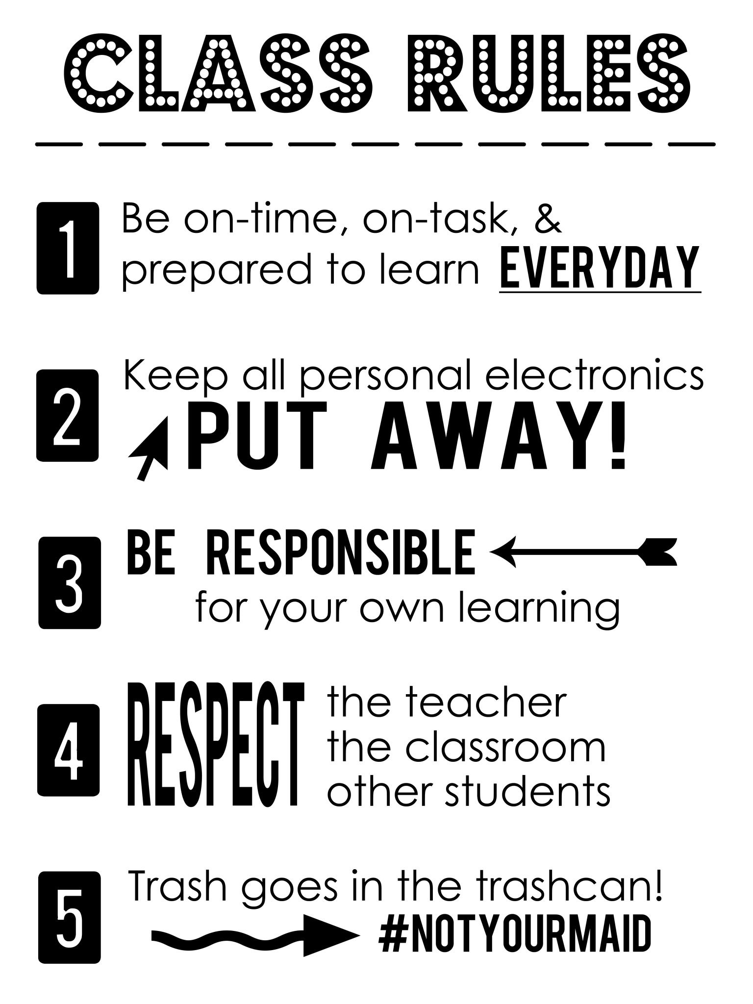 Class Rules Poster Download
