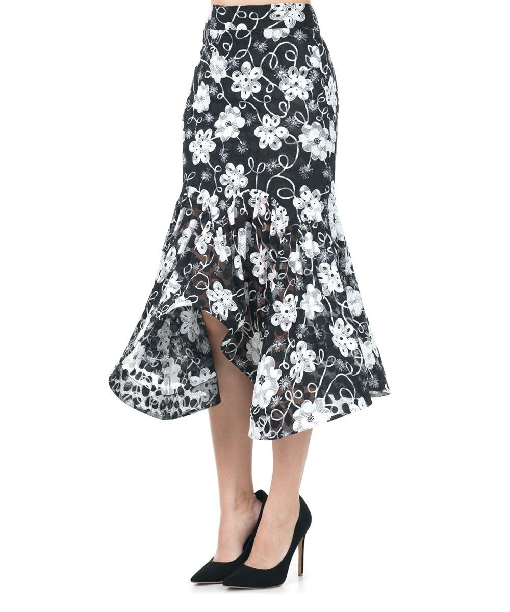 Black Floral Tiered Midi Skirt