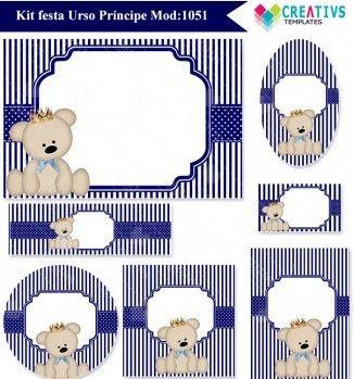 Festa Urso Príncipe Azul Marinho Mod1051 Príncipe Menino