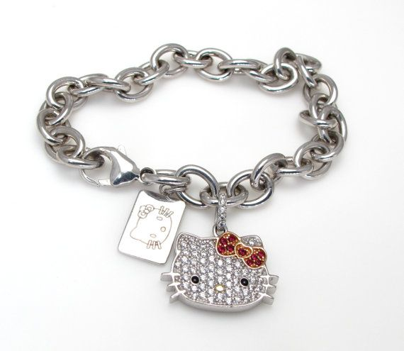 cd9edc8d2 Sterling Silver Hello Kitty Bracelet with Cubic Zirconia Stones and Hello  Kitty Sterling Tag - Sanri