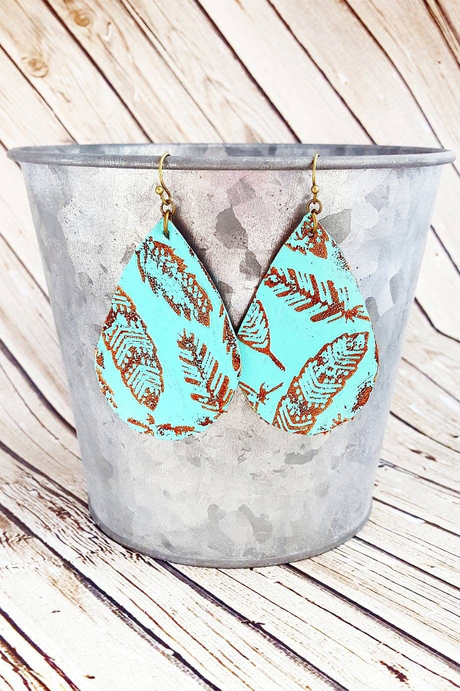 Round Leather Earrings Hand Painted Leather Earrings Leather Dangles Turquoise Leather Earrings Distressed Leather Earrings