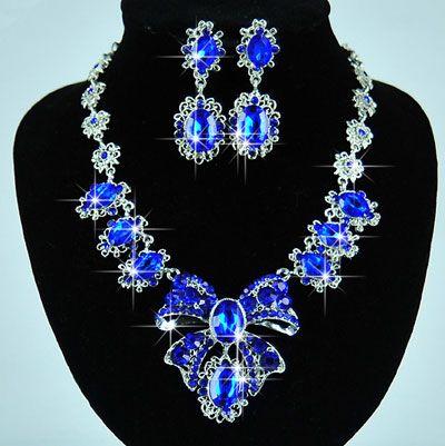Blue Rhinestone Multi Sapphire Wedding Necklace Earrings Sets