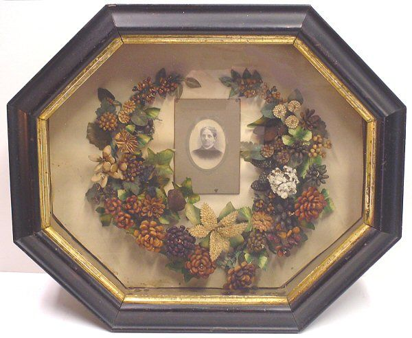 antique folk art Mourning Wreath Shadow box charming