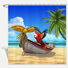 Parrots Of The Caribbean Shower Curtain For