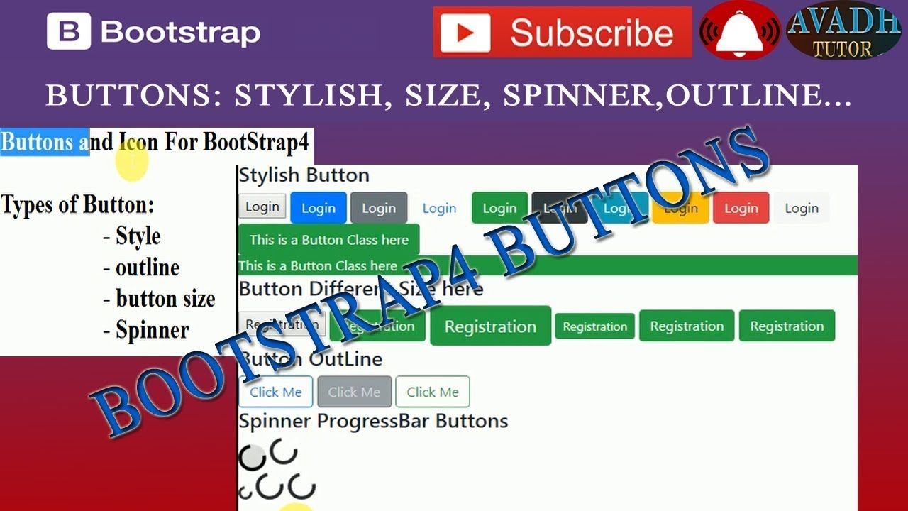 Bootstrap Buttons   bootstrap 4 stylish button size outline