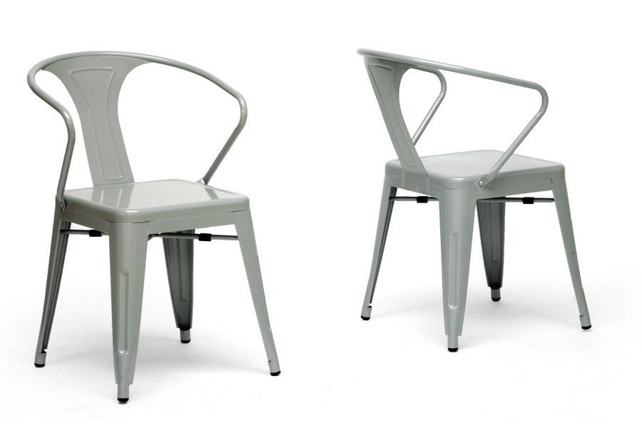 French Industrial Modern Dining Chair In Gray Set Of 2 French Dining Chairs Modern Dining Chairs Affordable Modern Furniture