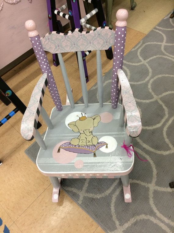 Custom Hand Painted Childs Rocker. Adorable Baby Elephant Theme. Painted  With Chalk Paint And Finished With Glossy Acrylic. This One Is An Example.