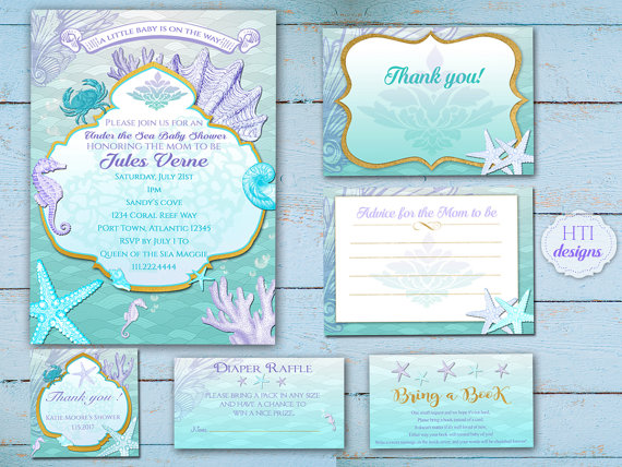 image regarding Printable Mermaid Baby Shower Invitations referred to as Child Shower Invitation Package Suite-Beach front- Mermaid- Less than the