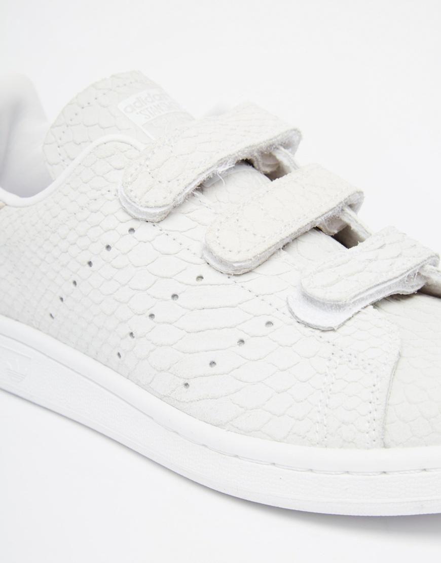 adidas orginals velcro stan smith in snake suede sneakers