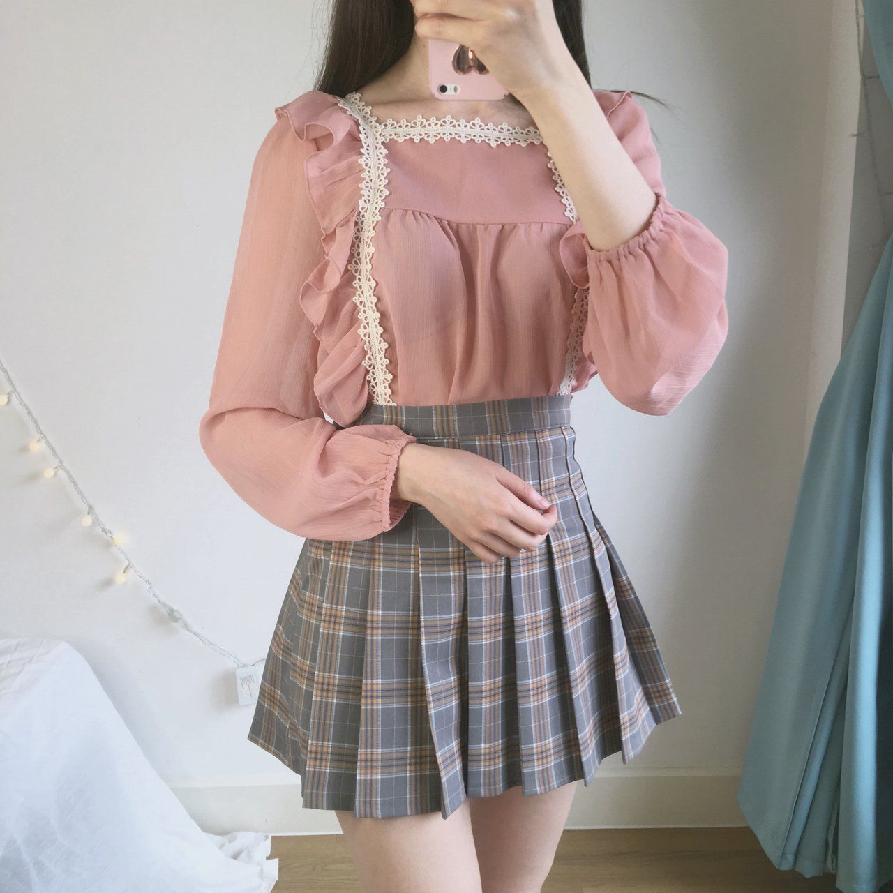 934c2dd9e5 🌸 Romantic pink shirring lace blouse 🌸 Slightly see dusty - Depop ...