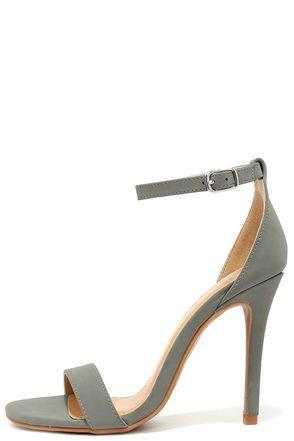ff33bb1367 Chloe Grey Ankle Strap Heels | Shoe Me | Grey shoes heels, Ankle ...