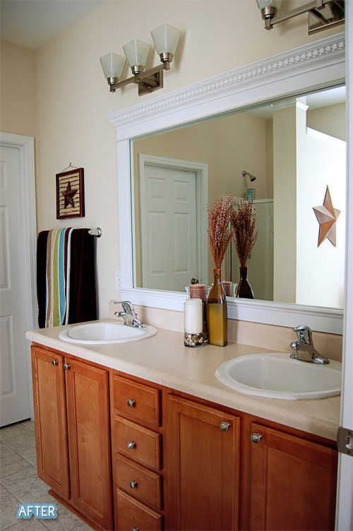 Add Molding To A Plain Huge Bathroom Mirror That Top Piece Does It Bathroom Mirror Makeover Bathroom Mirrors Diy Bathroom Mirror Frame