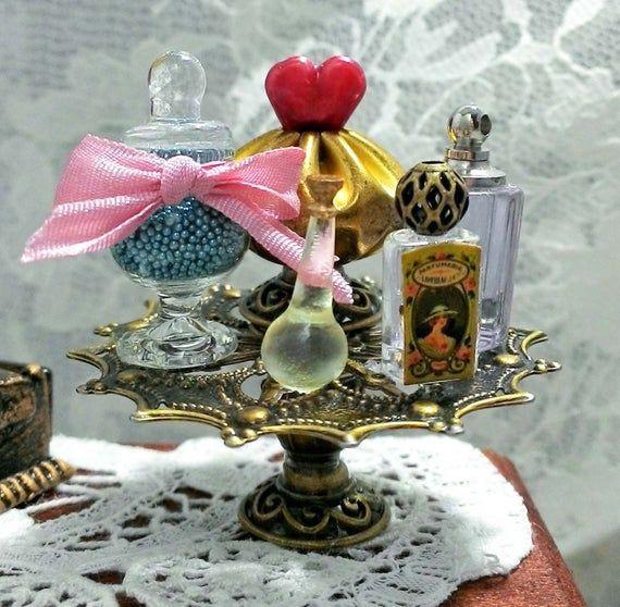 Miniature Perfume Bottle Labels Ephemera Collage Sheet