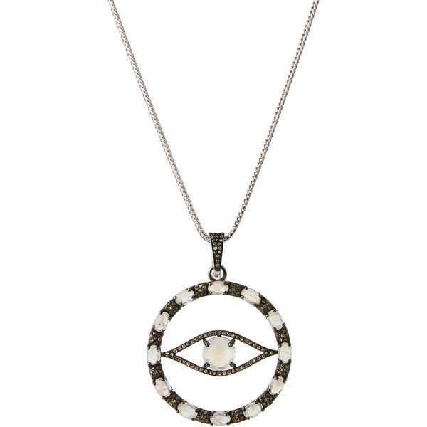 Bavna Moonstone & amethyst Pendant Necklace mHSi2