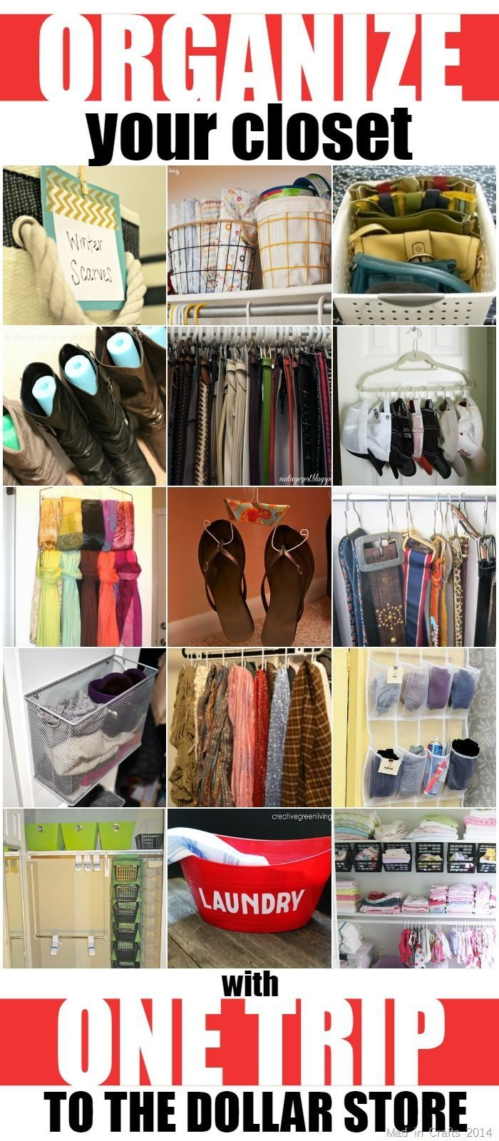 Organize Your Closet With One Trip To The Dollar Store Mad In Crafts Diy Organization Organization Bedroom Dollar Stores