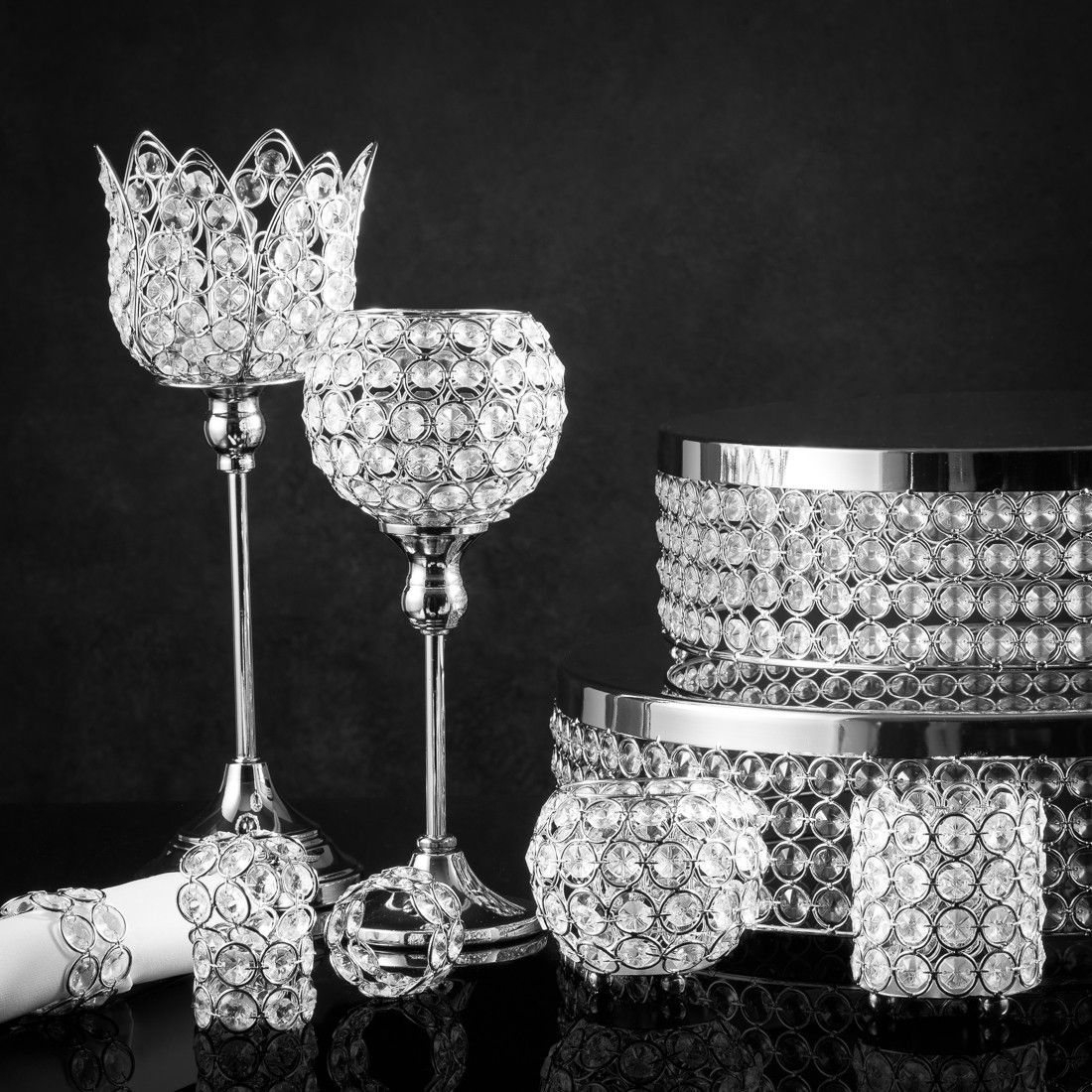 4 in. Round Crystal Candle Holder Crystal cake, Crystal