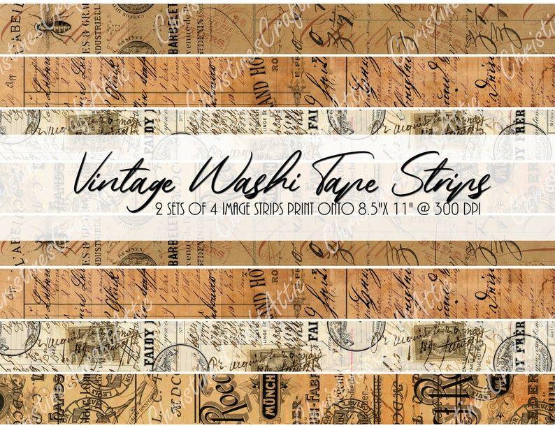 Journal Washi Tape Printable Washi Tape Junk Journal Supply Junk Journal Washi Tape Junk Journal Printable