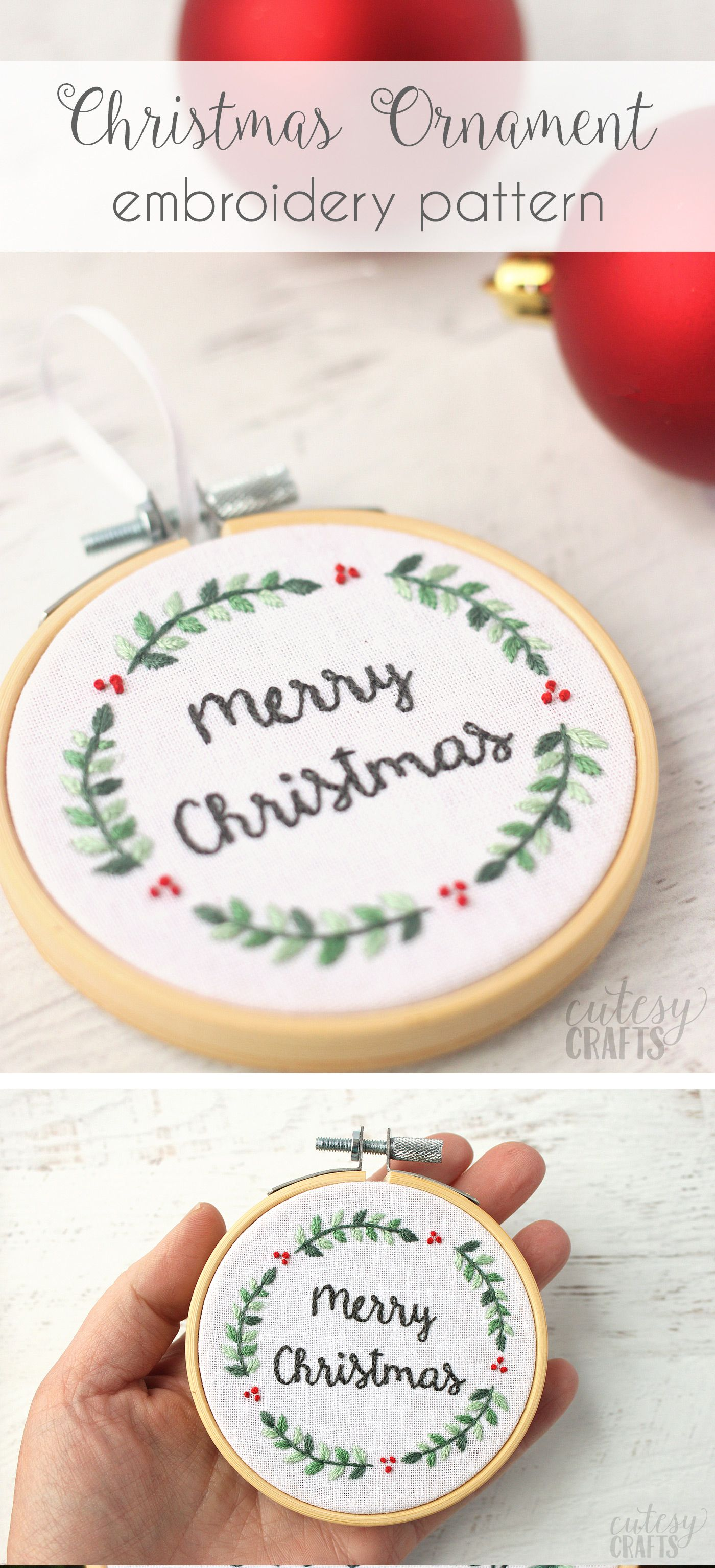 Merry Christmas Ornament Tutorial Free Christmas Embroidery Designs Christmas Embroidery Designs Christmas Embroidery Patterns Embroidery Hoop Crafts