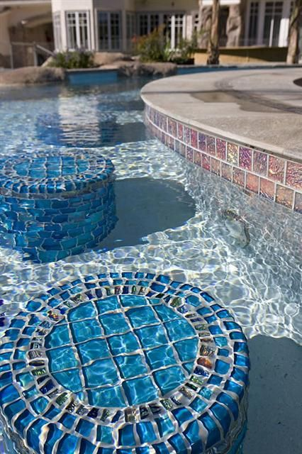 bar stools | Backyard in 2019 | Glass pool tile, Swimming ...