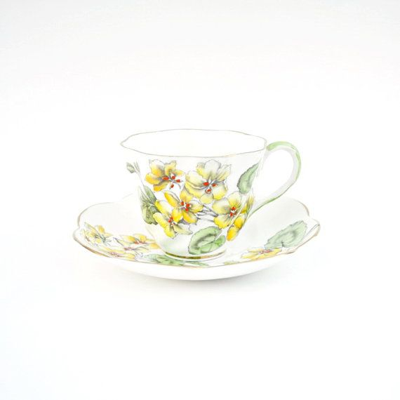 Items similar to salisbury tea cup and saucer set geranium england fine bone china yellow green flowers birthday  housewarming for her on etsy also by agardencottage rh za pinterest