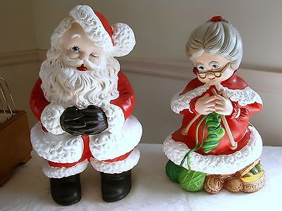 Vintage Atlantic Mold Mr Mrs Santa Claus Figure Set Ceramic Christmas