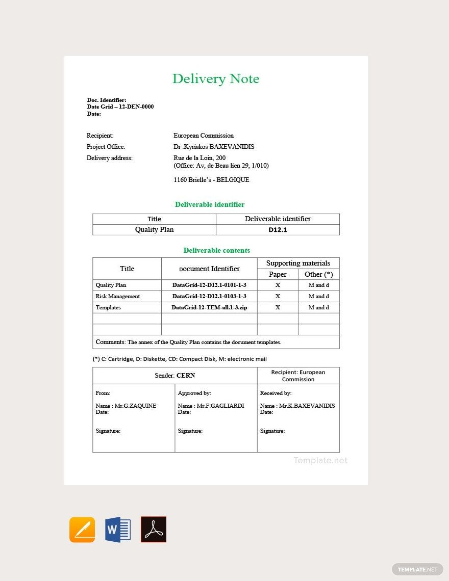 Free Sample Delivery Note Template in 2020 Notes