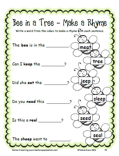 Long E Word Work Games And Activities Kindergarten