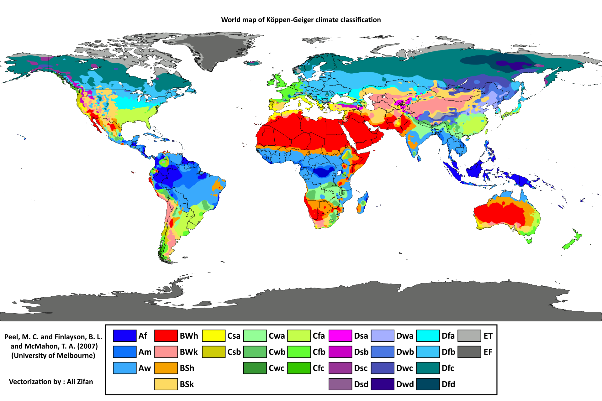 Map Of World Dividing Climate Zones Largely Influenced By