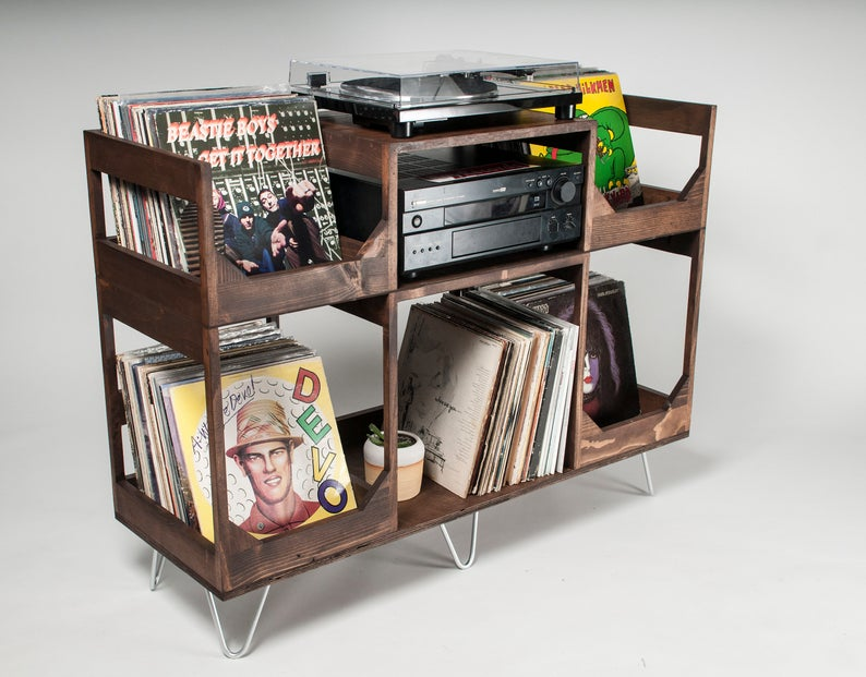 In The Groove Vinyl Storage And Record Player Stand Etsy Vinyl Storage Record Player Stand Vinyl Record Storage