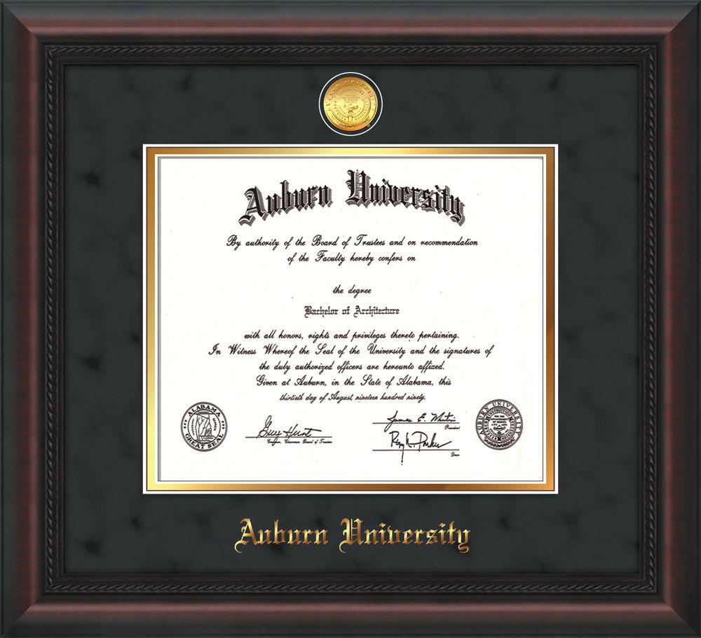 Auburn University Diploma Frame - Mahogany Braid - w/24k Gold-plated ...
