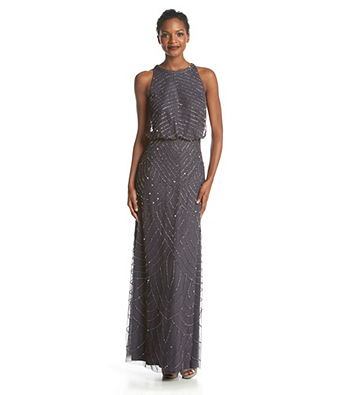 Adrianna Papell Beaded Halter Gown Dresses Womens Dresses Bridesmaid Dresses