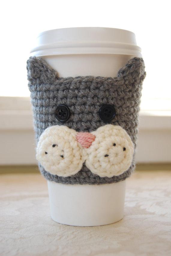 Cat Coffee Cozy, Grey Cat Coffee Cozy, Crochet Coffee Cozy, Animal ...