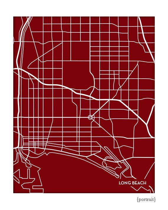 Long Beach City Map Wall Poster Csulb Cal State University Line