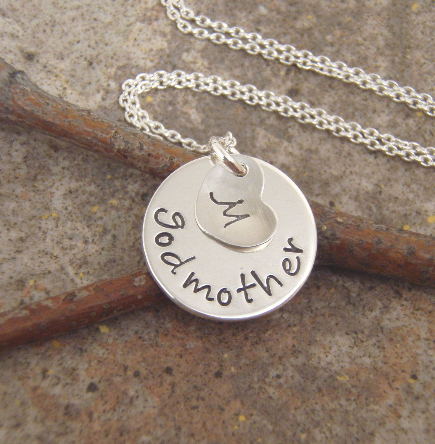 Godmother necklace dainty godmother charm with godchilds initial godmother necklace dainty godmother charm with godchilds initial sterling silver name necklace photo not actual size aloadofball Gallery
