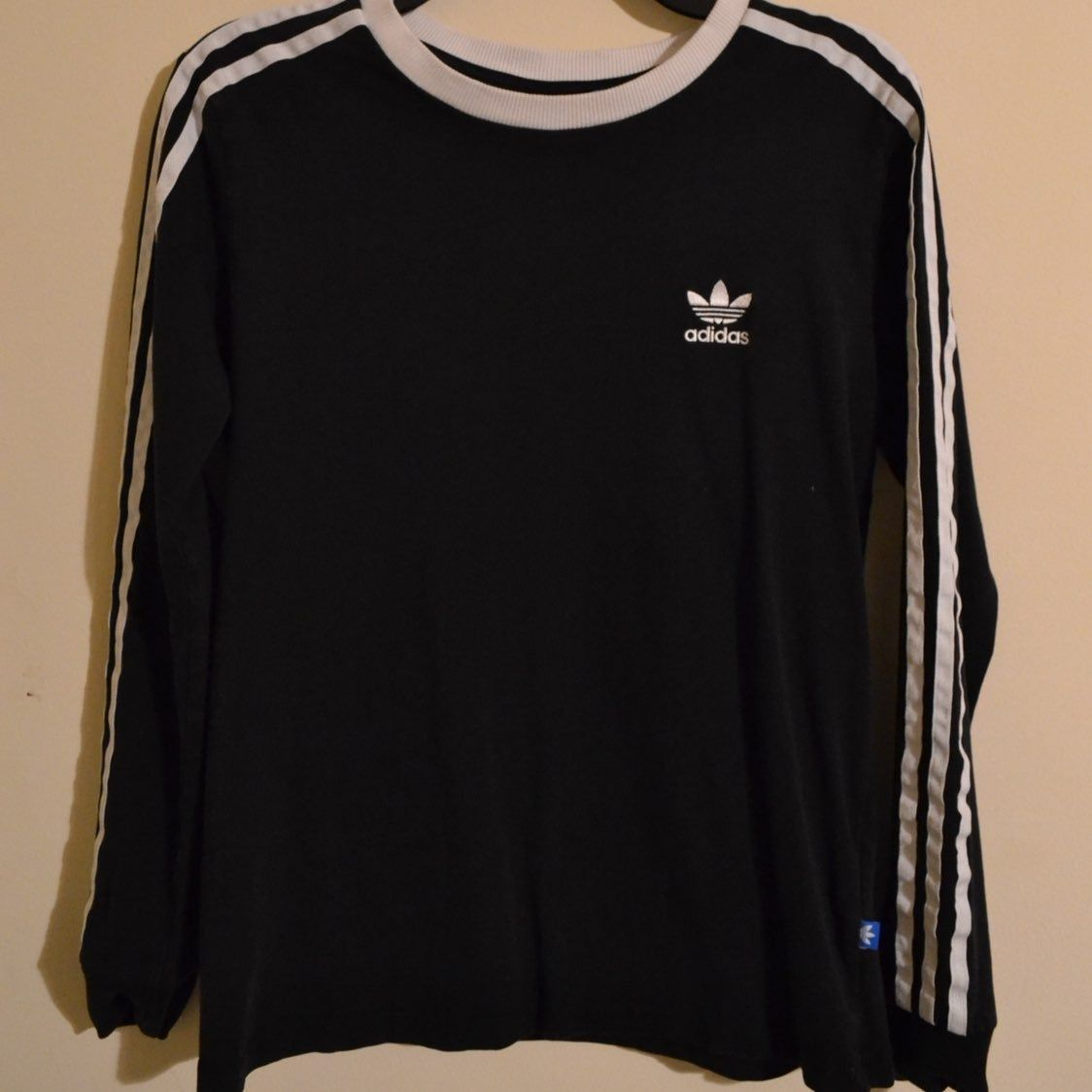 Adidas Retro 3 Stripes Black Longsleeve T Shirt Top Unisex