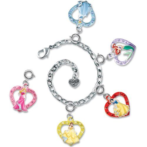 """Disney Princess fans will love designing their very own charm bracelet with this CHARM IT! Gift Set goodie that includes five Disney Princess charms and a 7.5"""" fully adjustable chain bracelet. All CHARM IT! Gift Sets are packaged in a rainbow-stripe keepsake box! With the snap of a clasp, girls can personalize their CHARM IT! jewelry."""