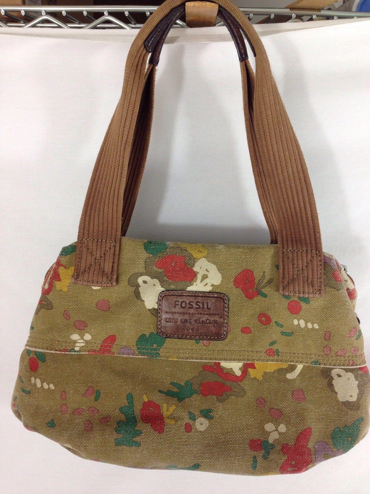 Fossil Handbag Distress Canvas Leather Boho Satchel Long Live Vintage 0591201 Ebay