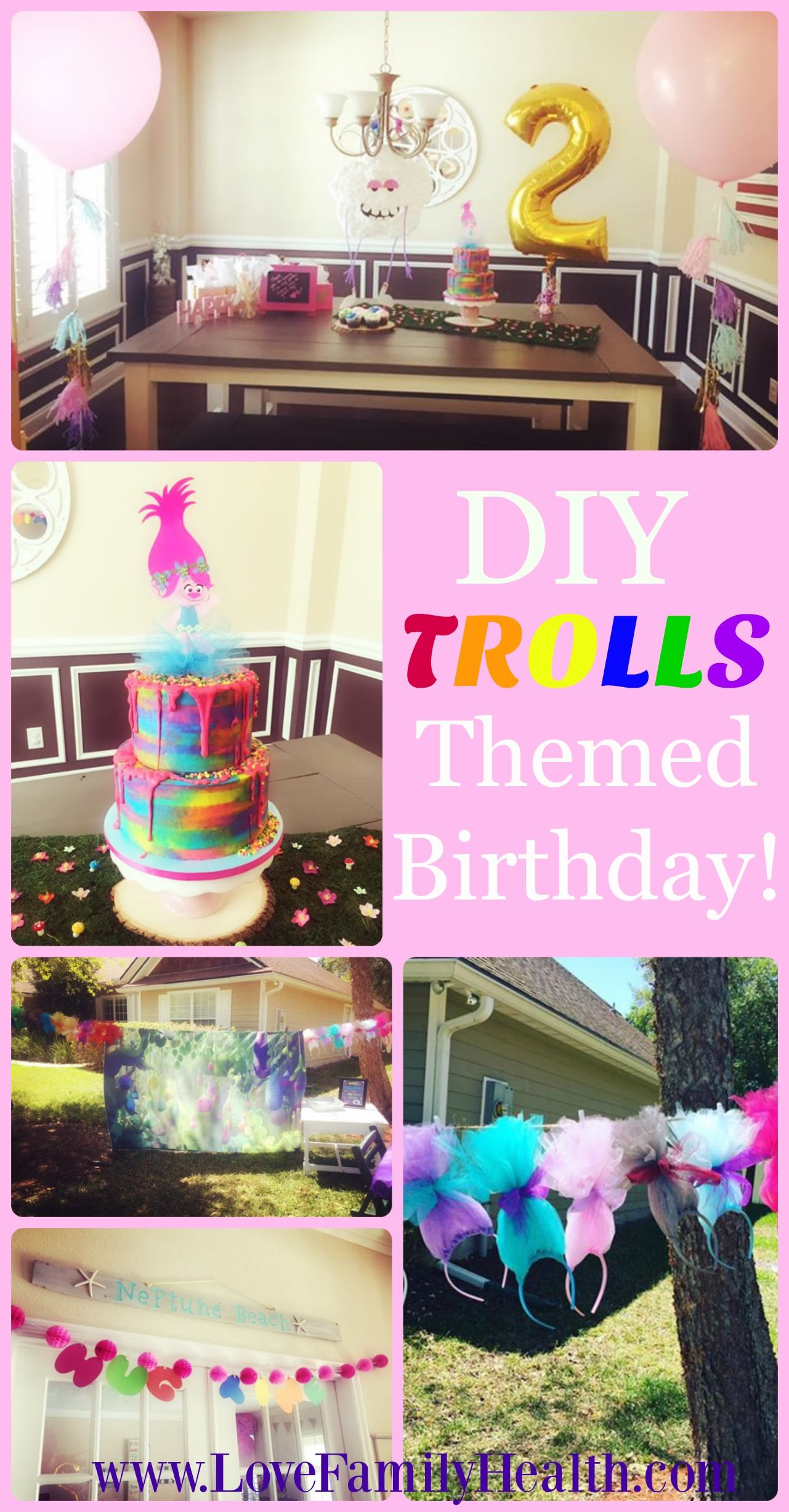 DIY Trolls Themed Birthday On A Budget Girl Party Ideas