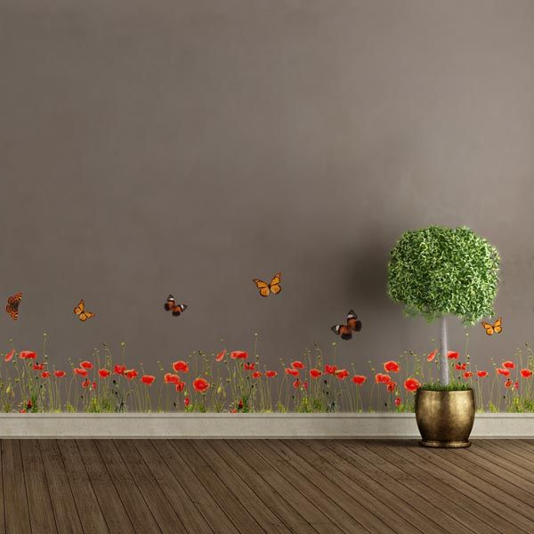 Poppies U0026 Butterflies Border Decal   Home Décor Line Wall Decals
