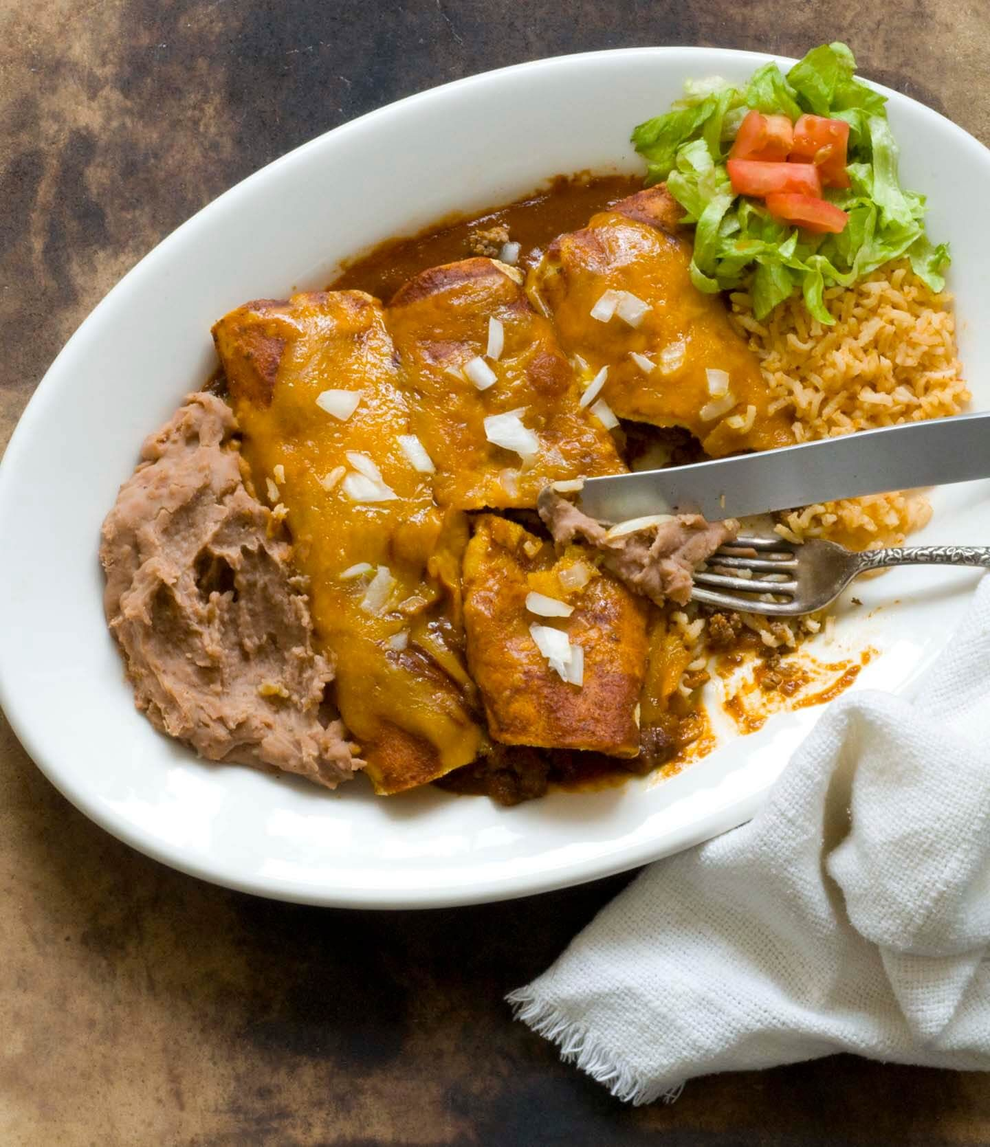 Beef Enchiladas With Chipotle Pasilla Chili Gravy Homesick Texan With Images Beef Enchiladas Mexican Food Recipes Recipes