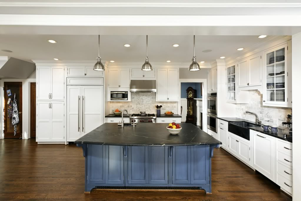 White Inset Blue Stained Island Soapstone Counters