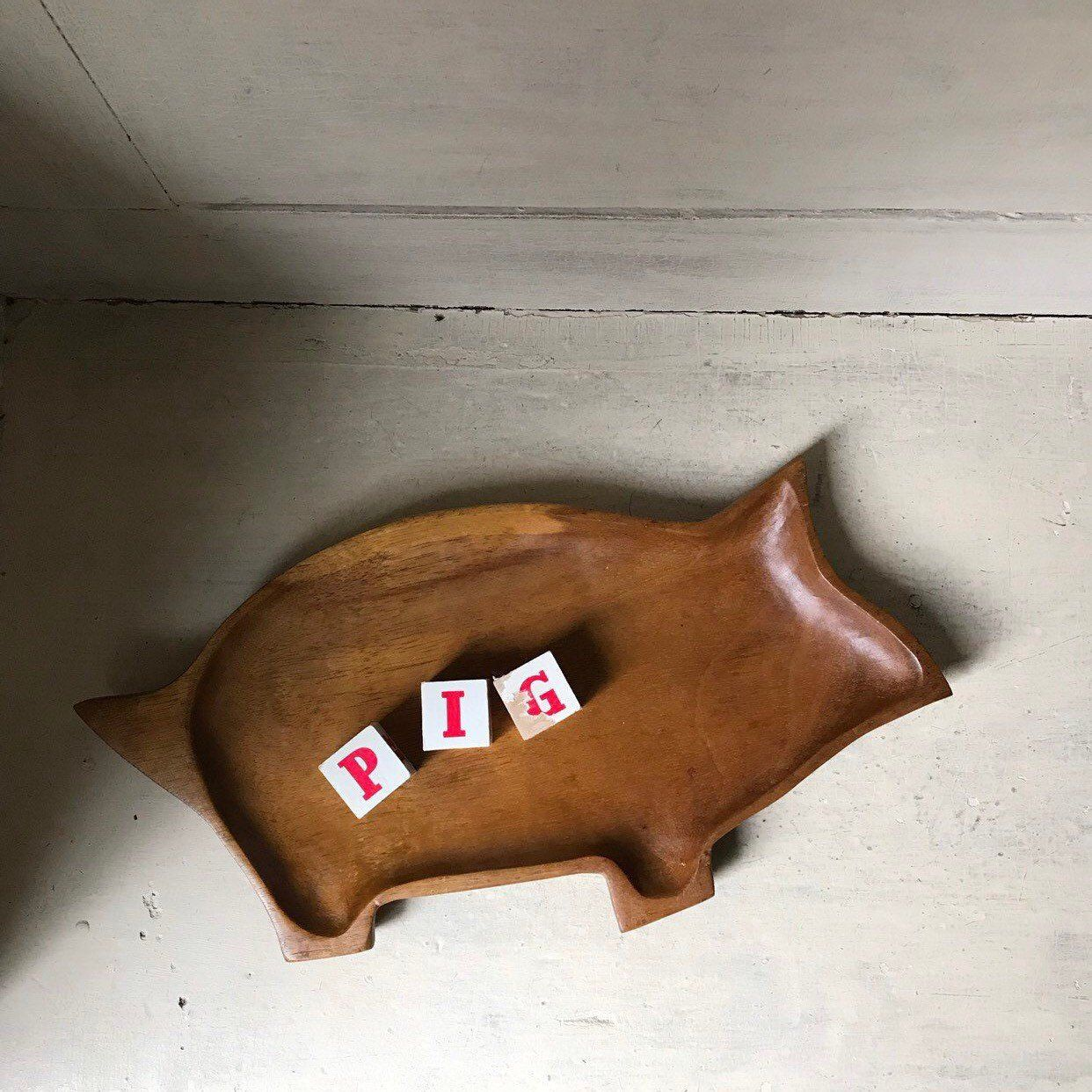Hand Carved Wooden Pig Serving Tray Vintage Wooden Pig Platter