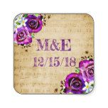 Sheet Music Purple Rose Personalized Stickers #weddinginspiration #wedding #weddinginvitions #weddingideas #bride
