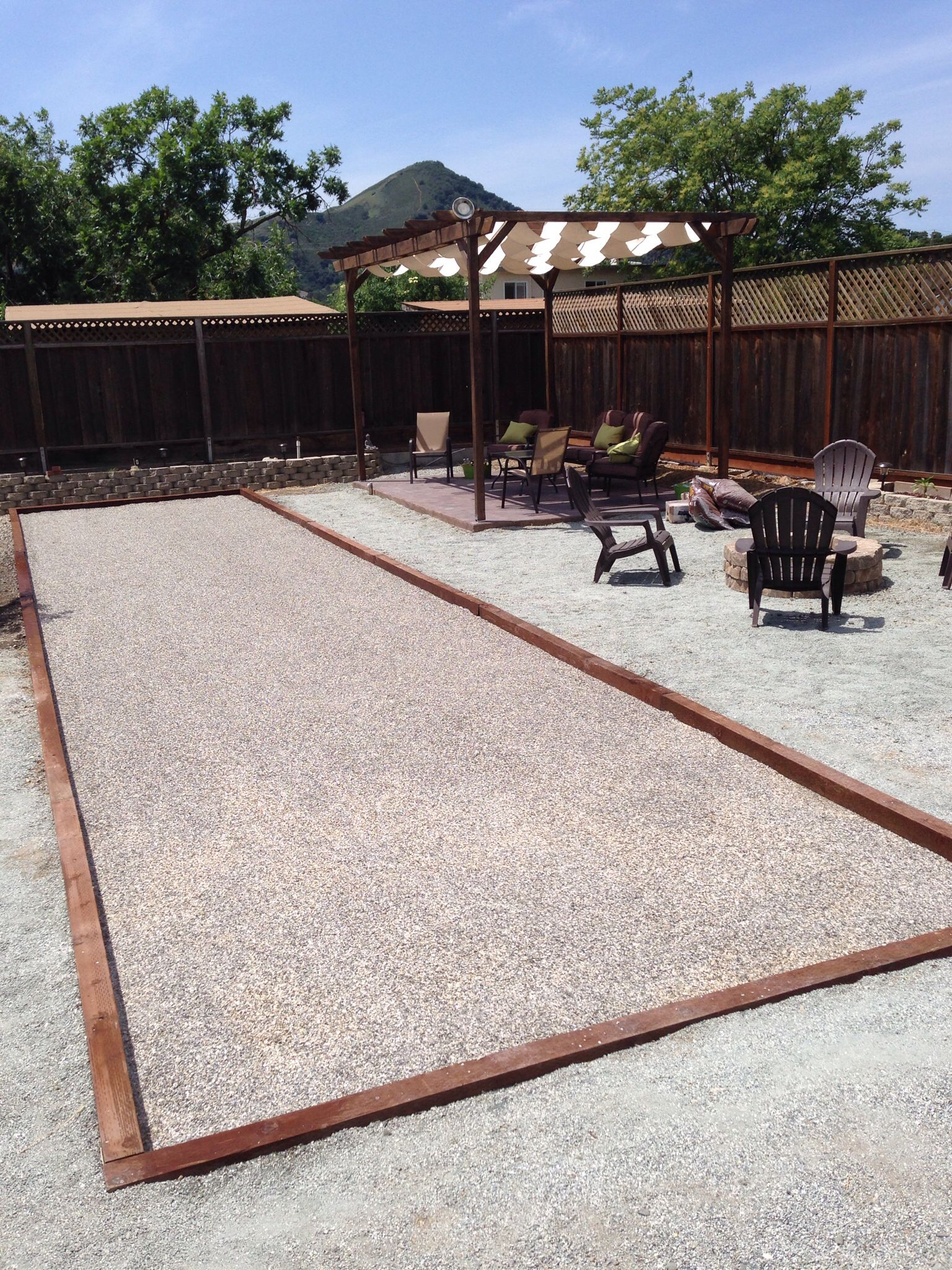 my diy bocce ball court pergola and firepit backyard