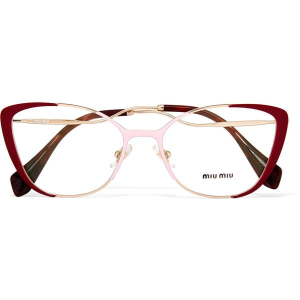 695065519e17 Miu Miu Cat-eye enamelled gold-tone optical glasses ( 335) ❤ liked on  Polyvore featuring accessories