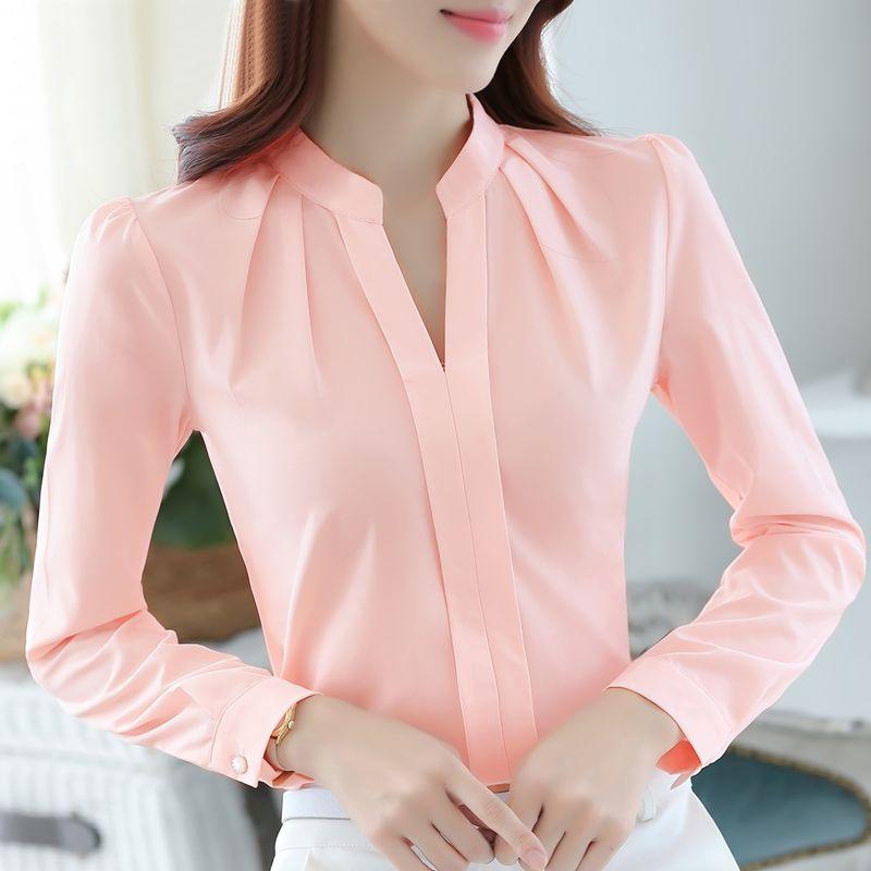 b221a66361760 Más el tamaño de la gasa de la blusa de la camisa femenina oficina Ropa de  trabajo delgadas camisa blanca mujeres del color sólido de manga larga  vestir de ...